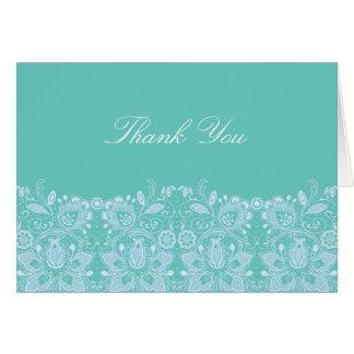 Aqua & White Lace | Thank You Card