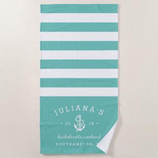 Aqua & White Personalized Bachelorette Weekend Beach Towel