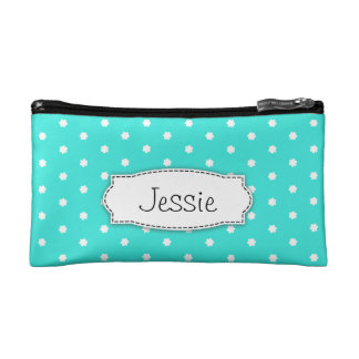 Aqua & white polka dot flowers named small bag