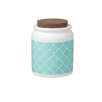 Aqua White Quatrefoil Pattern Candy Jar