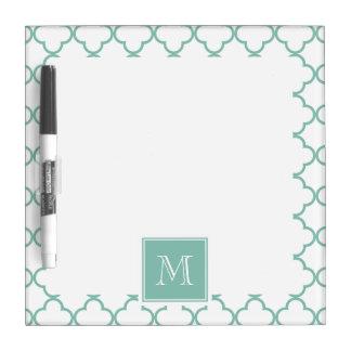 Aqua White Quatrefoil | Your Monogram Dry Erase Board