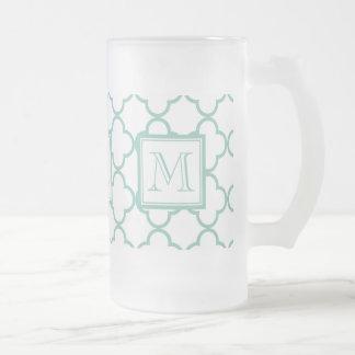Aqua White Quatrefoil | Your Monogram 16 Oz Frosted Glass Beer Mug