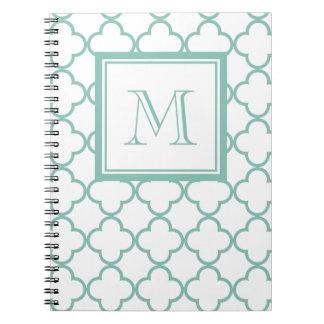 Aqua White Quatrefoil | Your Monogram Notebook