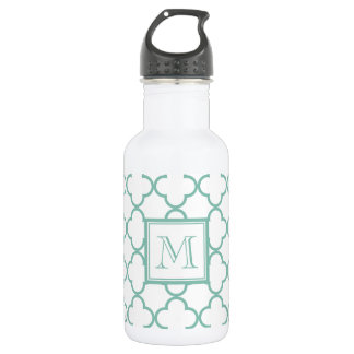 Aqua White Quatrefoil | Your Monogram 18oz Water Bottle