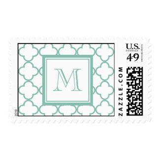 Aqua White Quatrefoil | Your Monogram Stamp