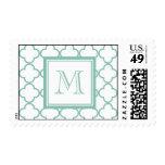 Aqua White Quatrefoil | Your Monogram Stamps