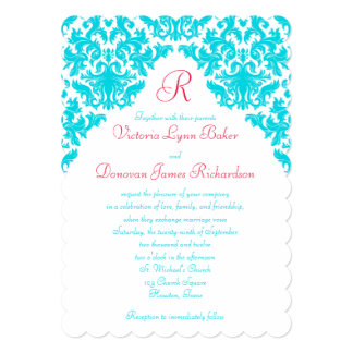 Aqua, White, Red Damask Monogrammed Invite