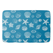 Aqua White Shells Bathroom Mat