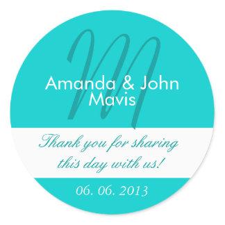 Aqua White Simple Initial Wedding Favor Thank You Classic Round Sticker