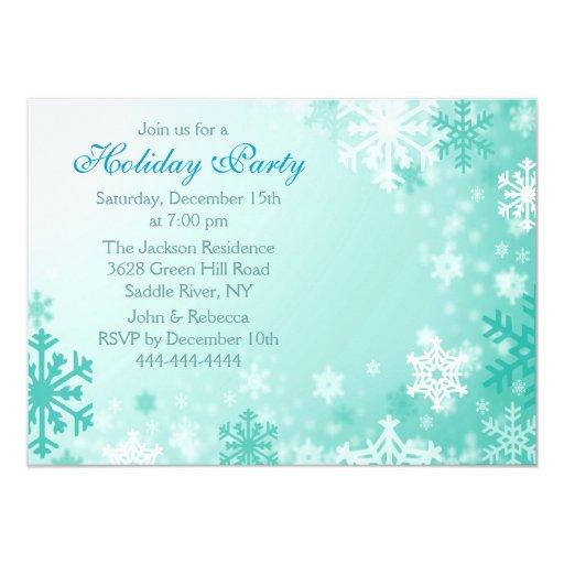 Aqua & White Snowflake Holiday Party Invitation