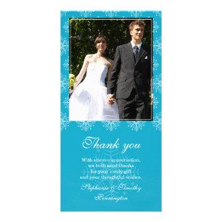 Aqua + white snowflakes wedding thank you photo card