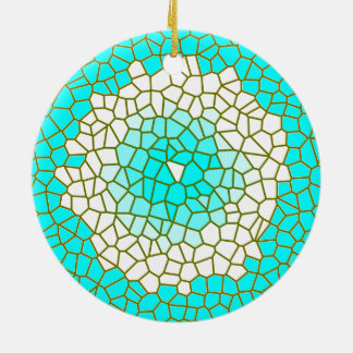 Aqua White Stained Glass Design> Pattern Ornaments