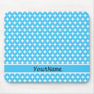 Aqua White Stars Diamond Pattern Mouse Pad