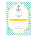 Aqua, white stripes & anchor nautical wedding custom announcements