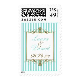 Aqua, White Stripes Gold Scrolls Wedding Postage