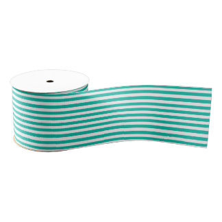 Aqua-White Stripes Pattern Grosgrain Ribbon