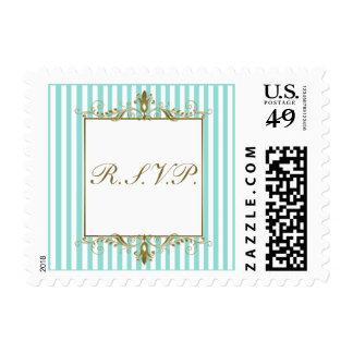 Aqua, White Stripes with Gold Scrolls RSVP Postage