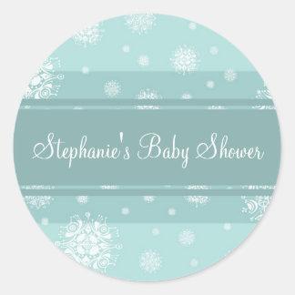 Aqua White Winter Baby Shower Favor Stickers