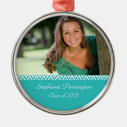 Aqua white zig zag graduation photo ornament
