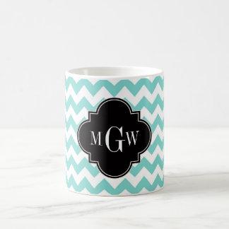 Aqua Wht Chevron Black Quatrefoil 3 Monogram Classic White Coffee Mug