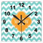 Aqua Wht Chevron Cantaloupe Quatrefoil 3 Monogram Wall Clock