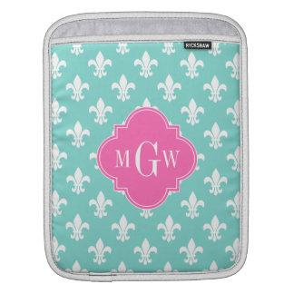 Aqua Wht Fleur de Lis Lt Hot Pink 3 Init Monogram iPad Sleeve
