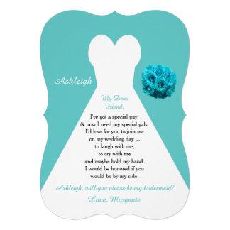Aqua Will You Be My Bridesmaid Invitations