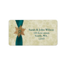 aqua winter wedding snowflake return address label