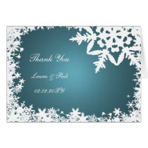 aqua winter wedding Thank You Card