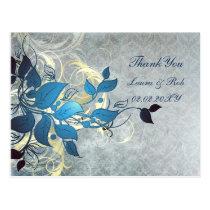 aqua winter wedding Thank You Postcard