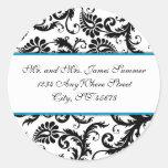 Aqua  with Black Damask Address Wedding Stickers