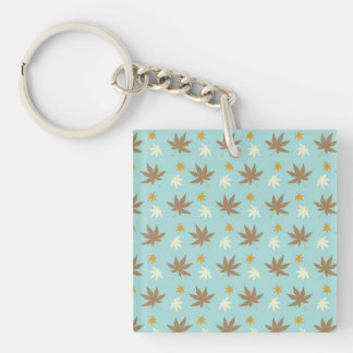 Aqua with brown and cream leaves keychain