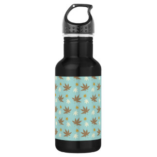 Aqua with brown and cream leaves 18oz water bottle