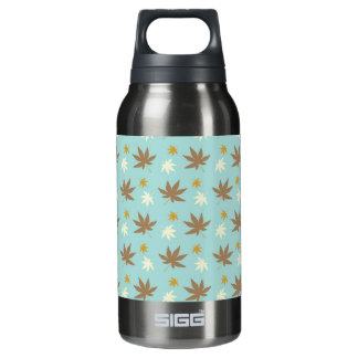 Aqua with brown and cream leaves 10 oz insulated SIGG thermos water bottle