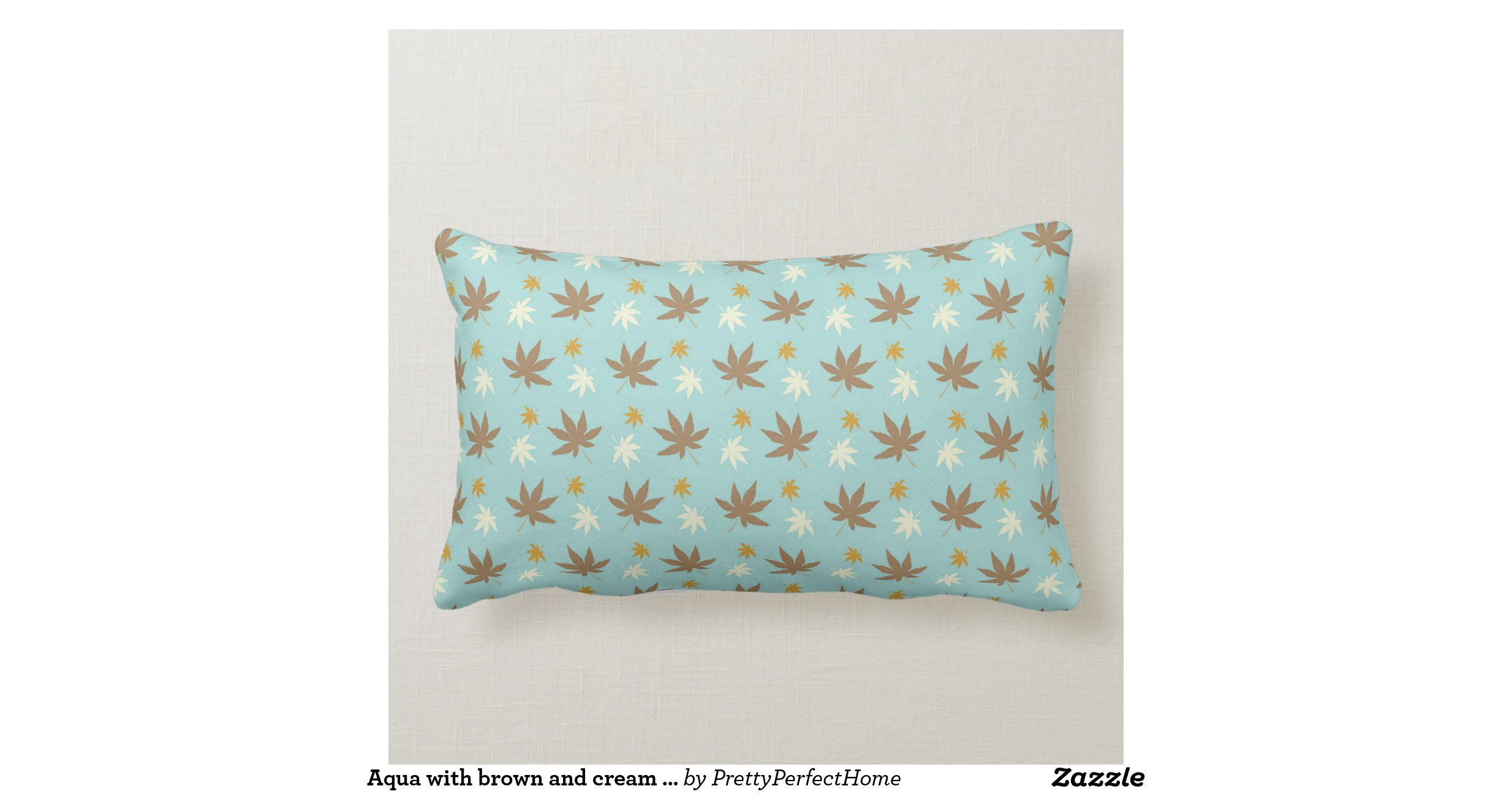 Throw Pillows Cream : Aqua with brown and cream leaves throw pillow Zazzle