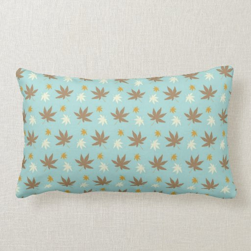 Aqua with brown and cream leaves throw pillow Zazzle