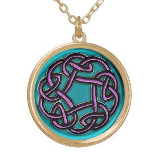 Aqua with Lavender Celtic Knot Necklace