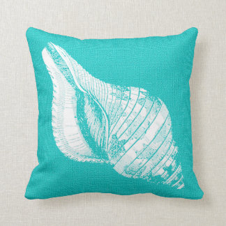 Aqua with White Conch Seashell Burlap Look Throw Pillow