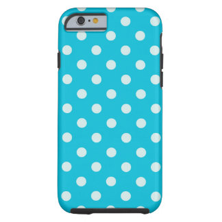 Aqua with white polka dots iPhone 6 Case, aots