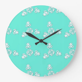 Aqua with White Roses Vintage Style Pattern Large Clock