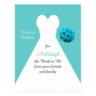 Aqua Words of Wisdom for Brides Post Card