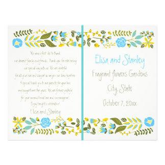 Aqua, yellow floral border wedding program