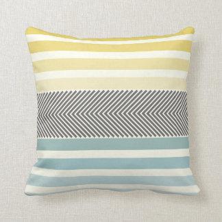 Aqua Yellow Gray Off White Arrow Herringbone Throw Pillow