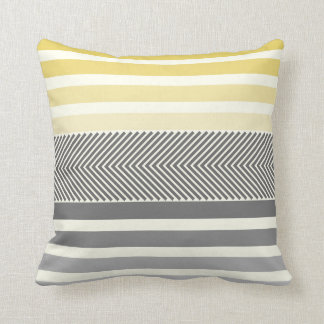 Aqua Yellow Gray Reversible Arrow Herringbone Throw Pillow