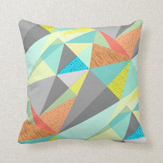 Aqua Yellow Gray Yellow Abstract Triangle Pattern Throw Pillow