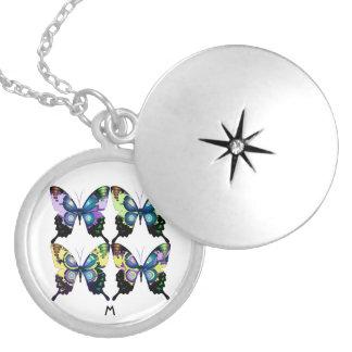 Aqua , Yellow Monogram - Elegant Butterflies Locket Necklace