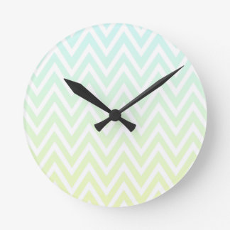 Aqua yellow ombre chevron zigzag stripes clock