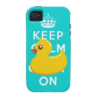 Aqua Yellow Rubber Duckie Keep Calm iPhone 4 Case