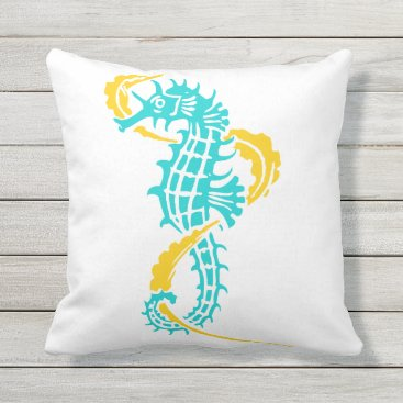 Beach Themed Aqua, yellow seahorse pattern summer reversible throw pillow