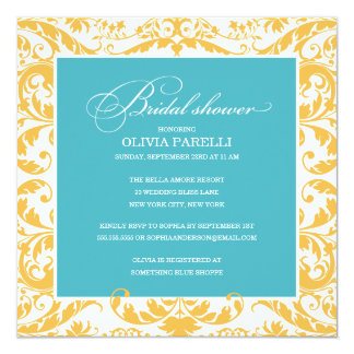 AQUA & YELLOW SHOWER   BRIDAL SHOWER INVITE